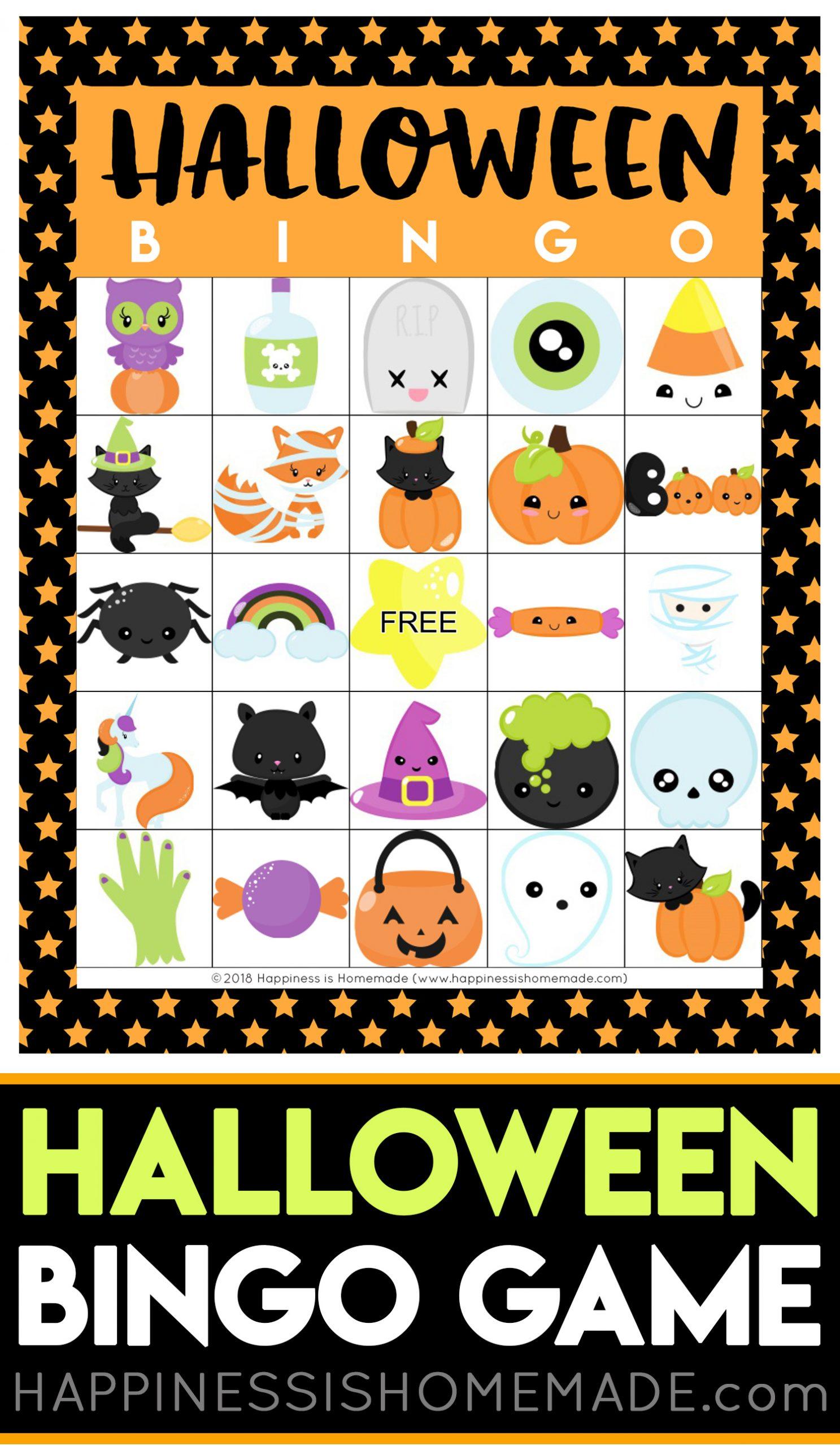 Printable Halloween Bingo Game Cards - Happiness Is Homemade