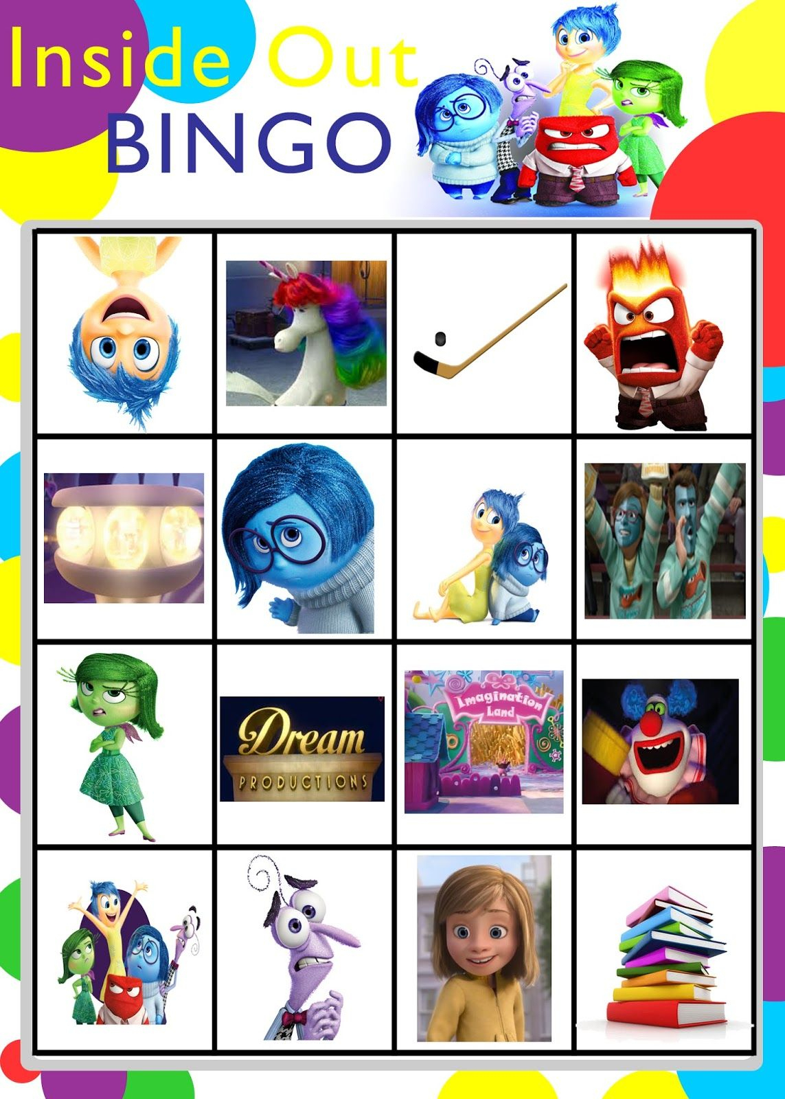 Printable Inside Out Bingo Game | Bingo For Kids, Kindness