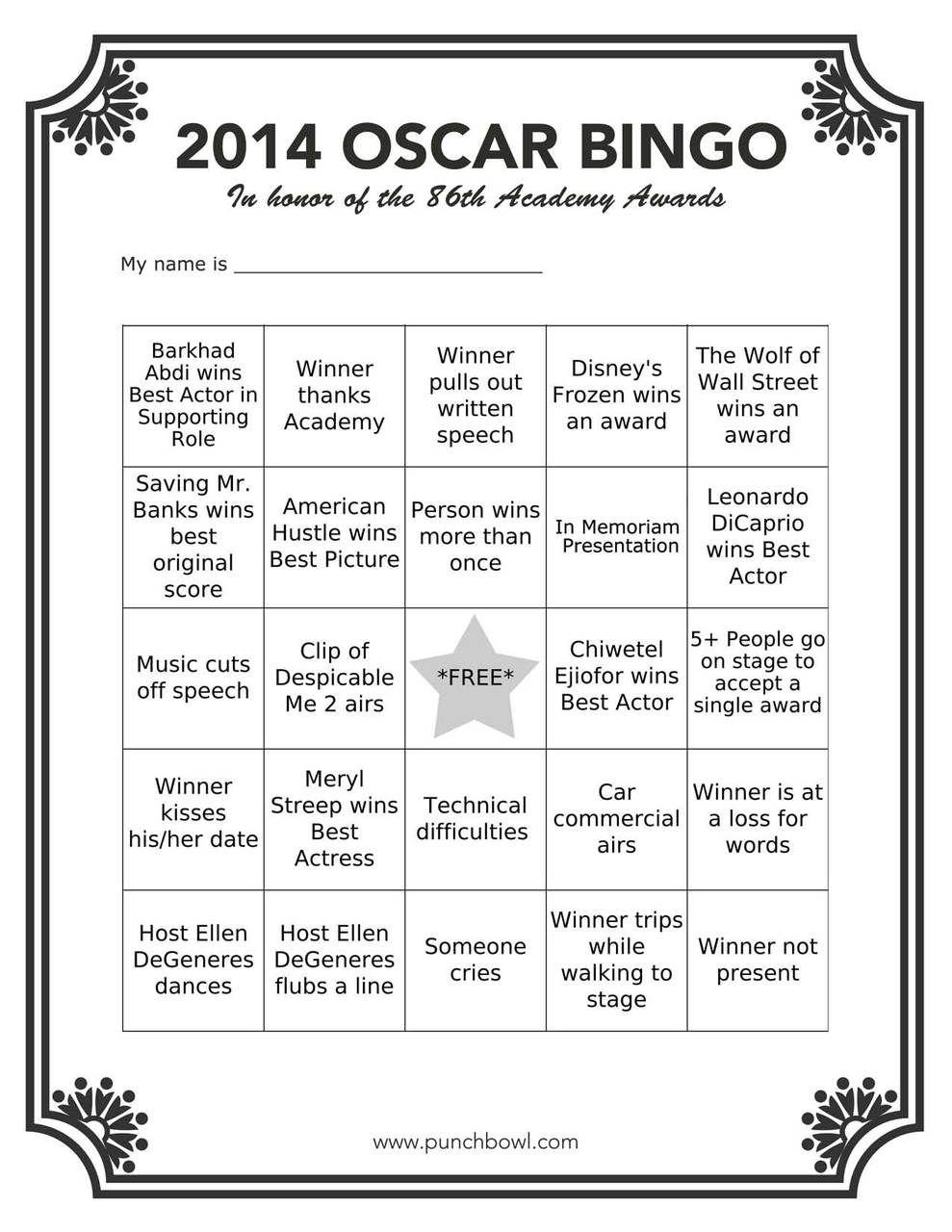 Printable Oscars Bingo In 2020   Oscar Party, Hollywood