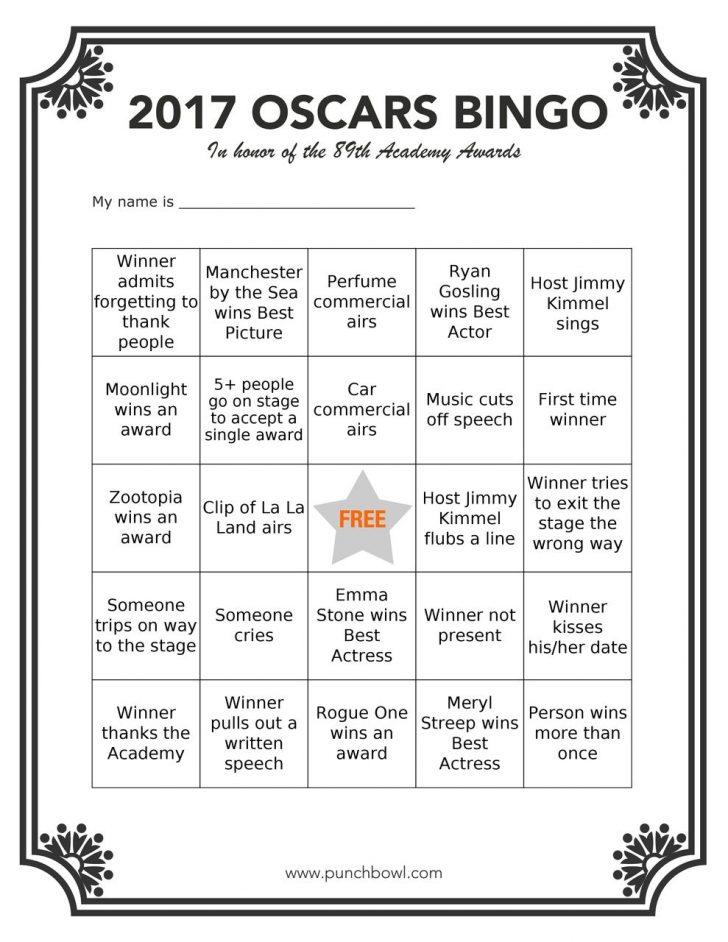 2019 Oscar Bingo Cards Printable