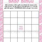 Printable Pink Damask Baby Shower Bingo Game Instant