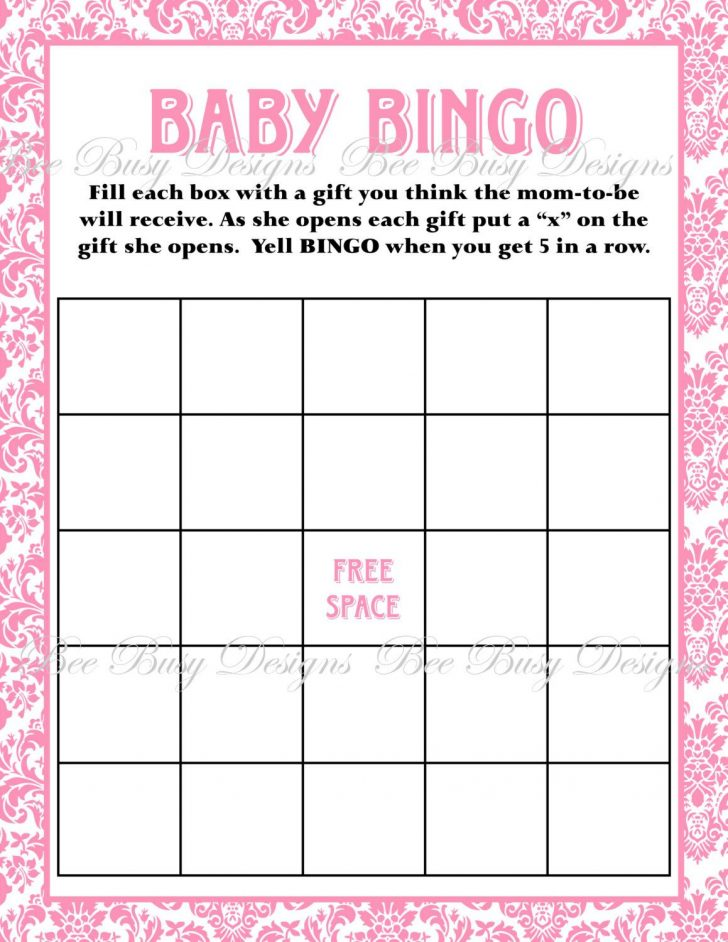 Free Printable Blank Bingo Cards For Baby Shower