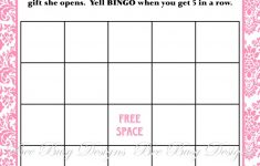 Printable Pink Damask Baby Shower Bingo Game Instant