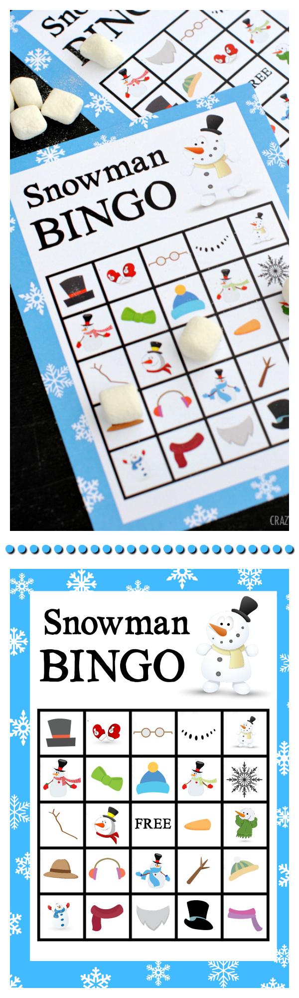 Printable Snowman Bingo Game - Crazy Little Projects