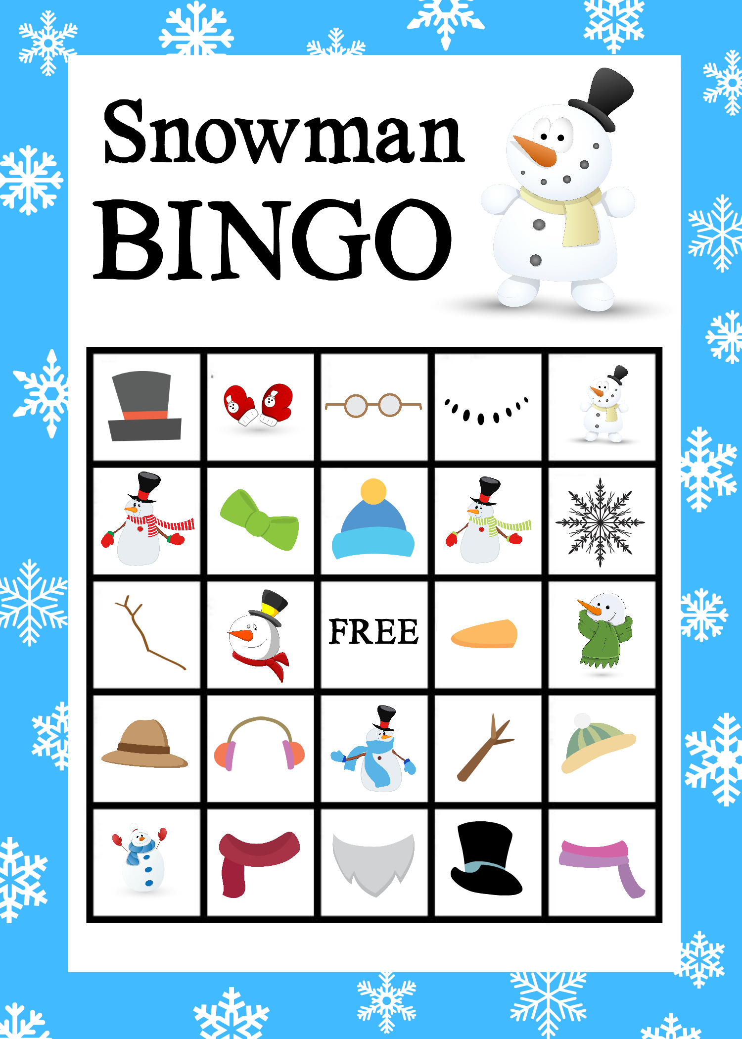 Printable Snowman Bingo Game   School Holiday Party, Snowman