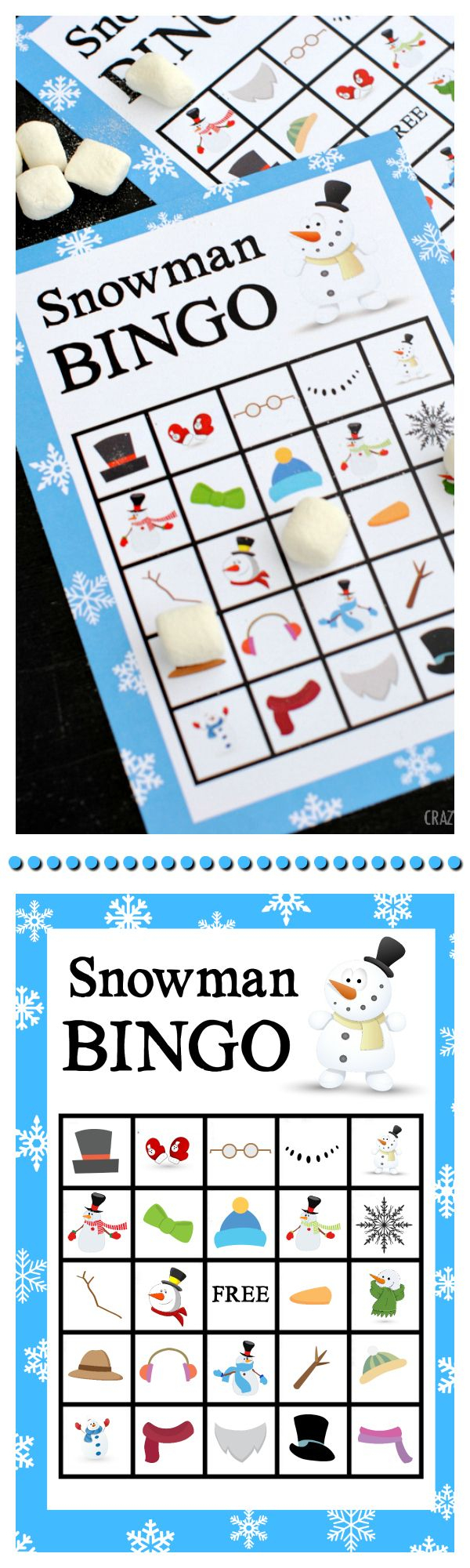 Printable Snowman Bingo Game | Snowman Party, Christmas