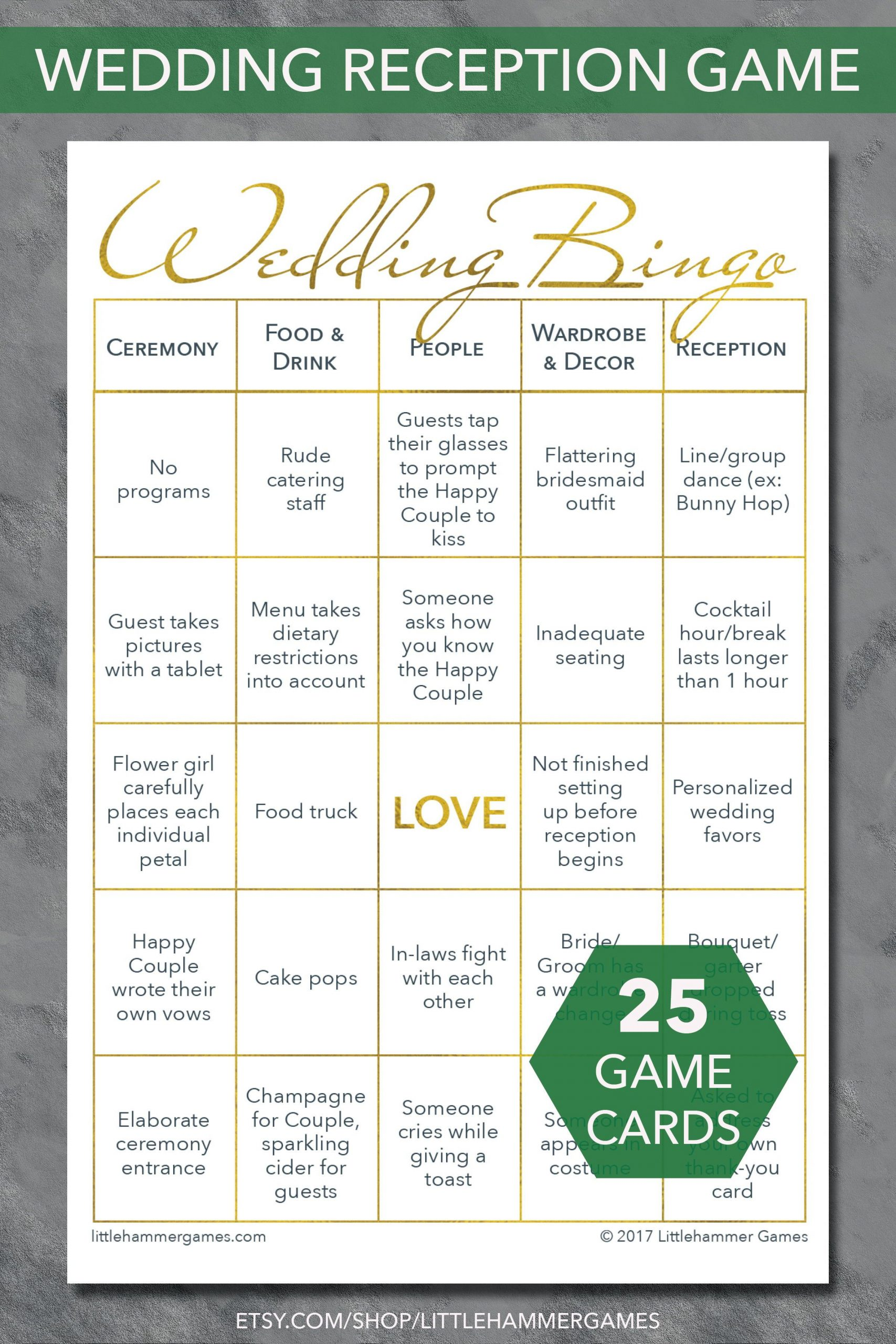 Reception Games For A Fun Wedding: Wedding Bingo Printable