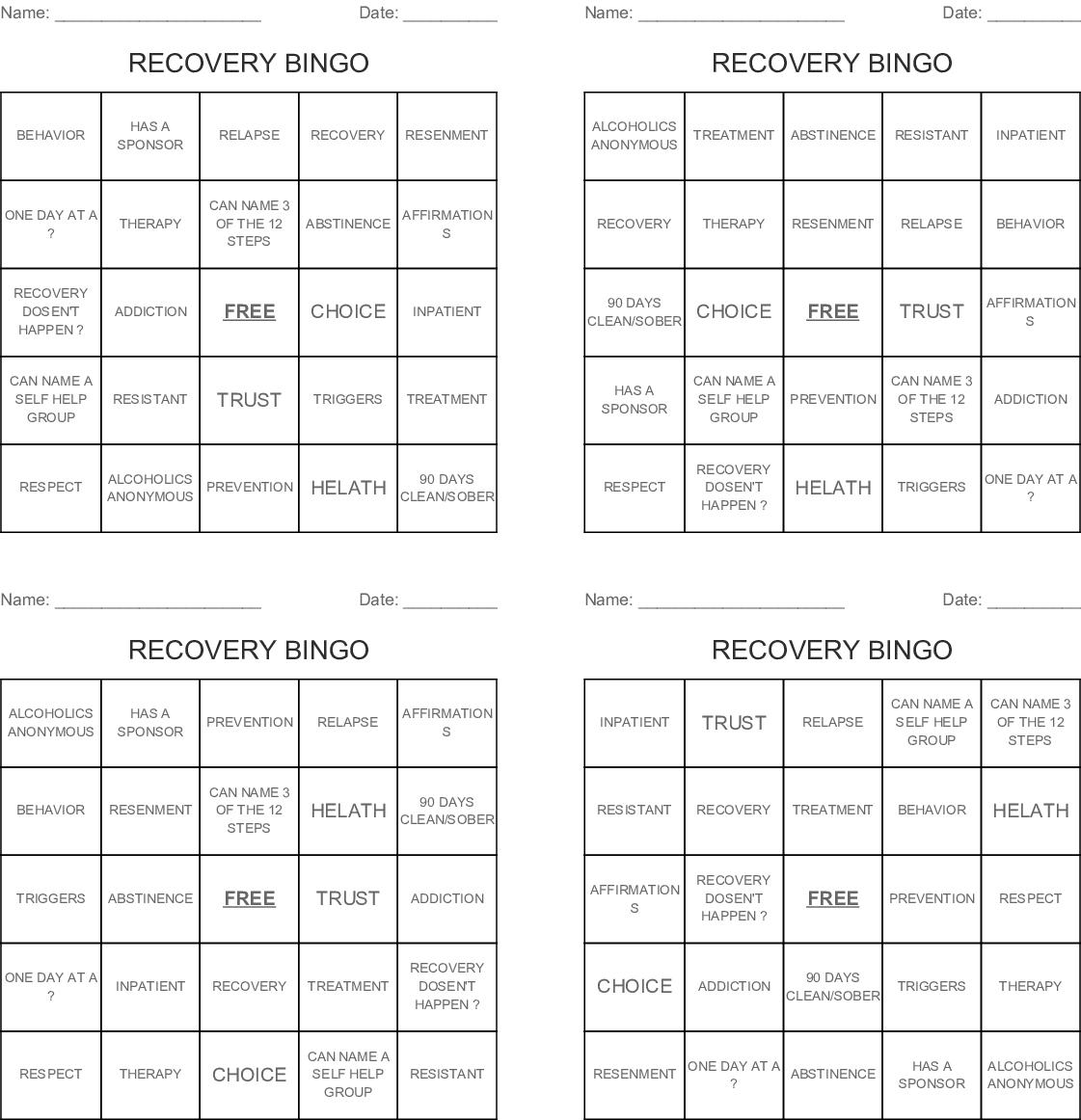 Recovery Bingo - Wordmint