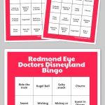 Redmond Eye Doctors Disneyland Bingo   Free Printable Bingo