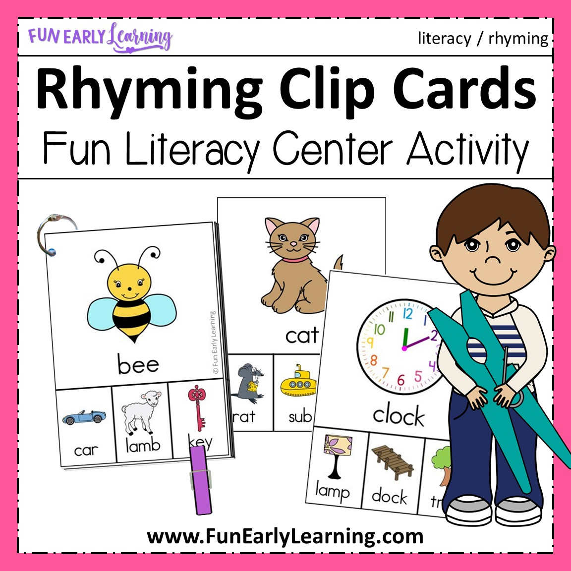 Rhyming Clip Cards - Cvc Words And More!