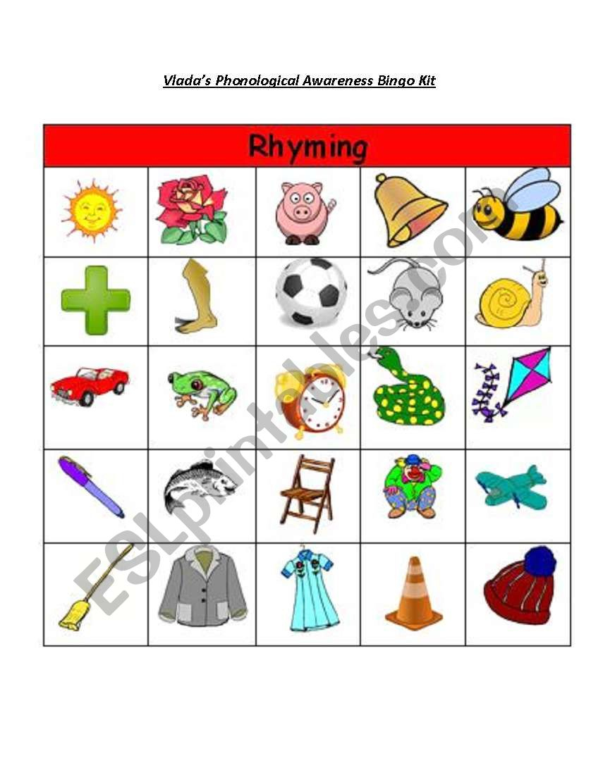 Rhyming Words Bingo - Esl Worksheetjaanik