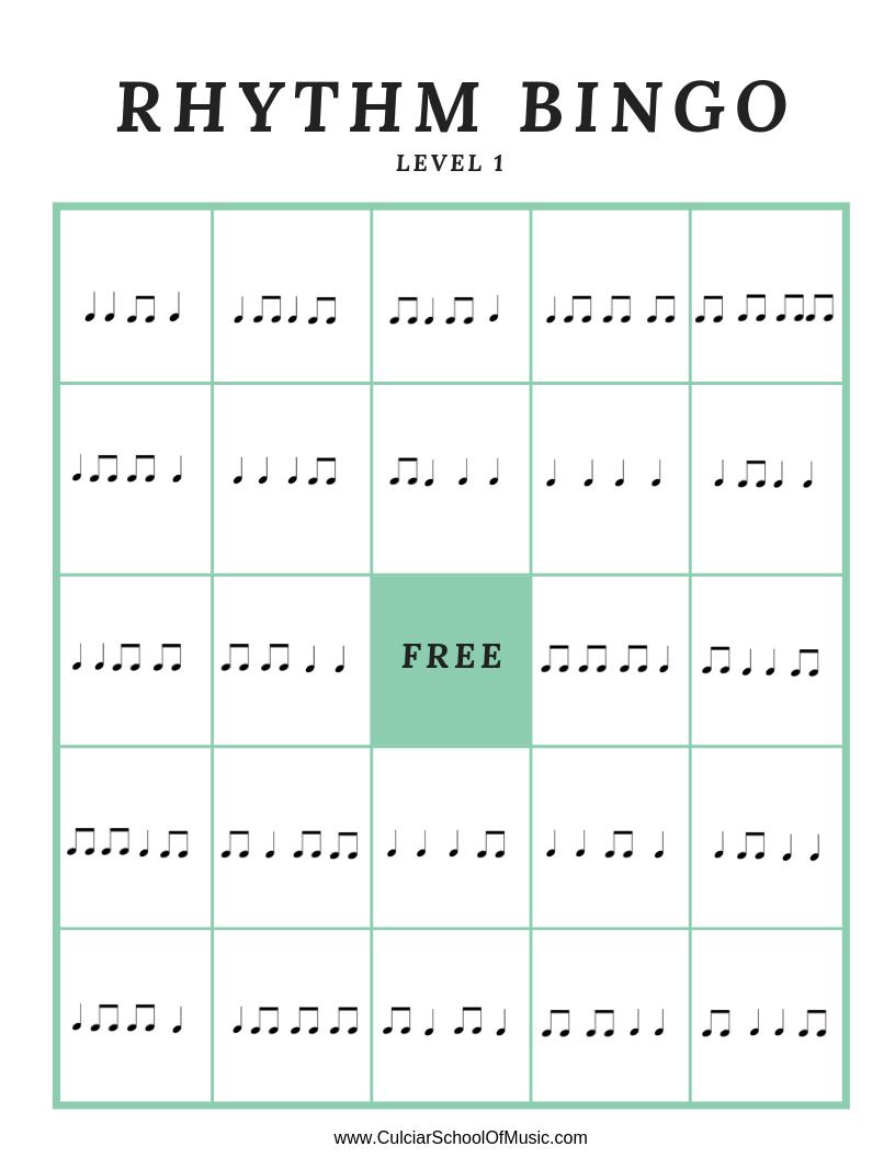 Rhythm Bingo Music Game | Culciar School Of Music