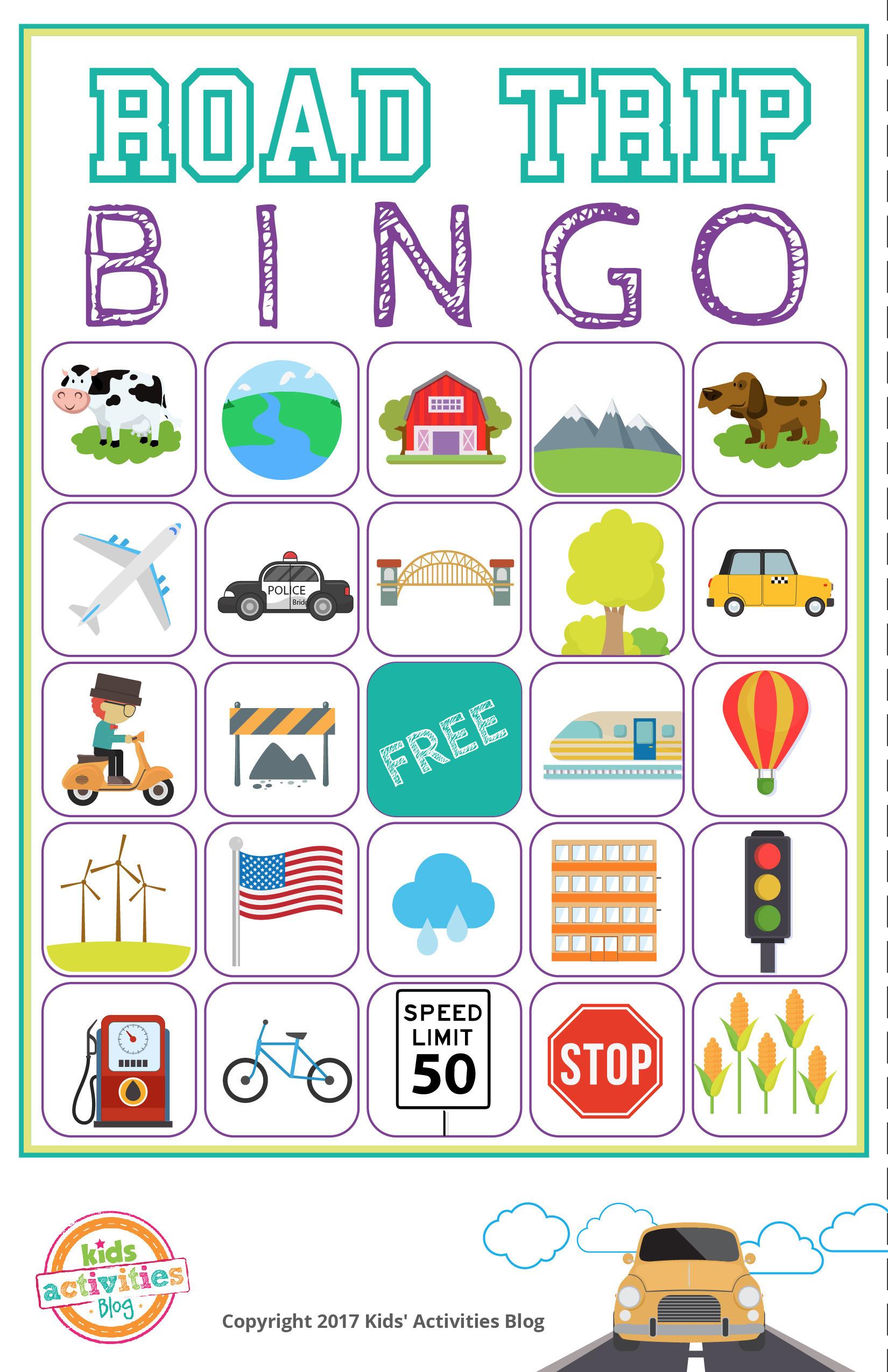 Road Trip Bingo Printable Game - Free Download Of 6 Travel