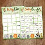 Safari Baby Shower Bingo Cards Printable
