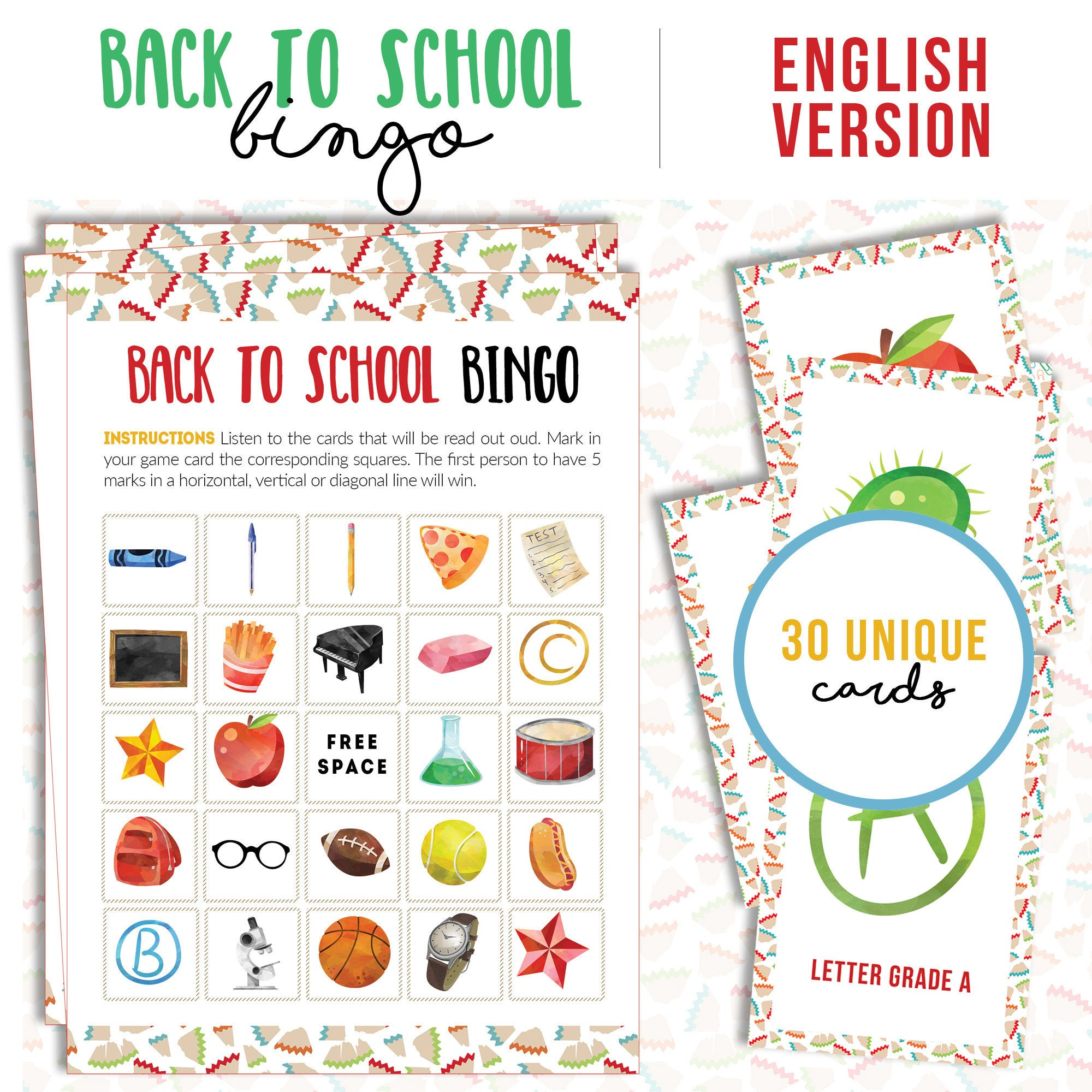 School Bingo Printable Game | 30 Different Cards | First Day Of Class 2019