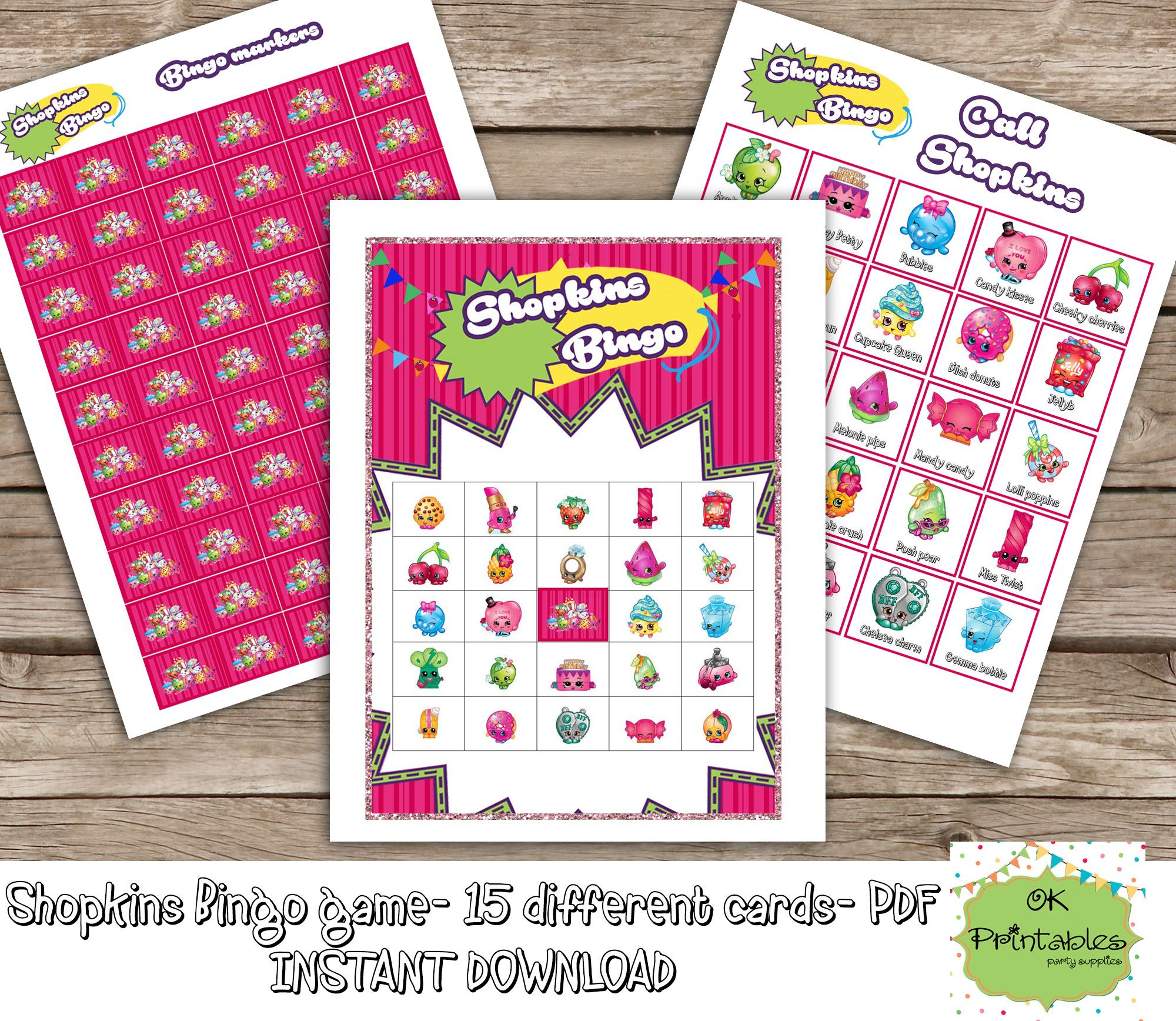 Shopkins Bingo Game (Include 15 Different Cards)- Shopkins