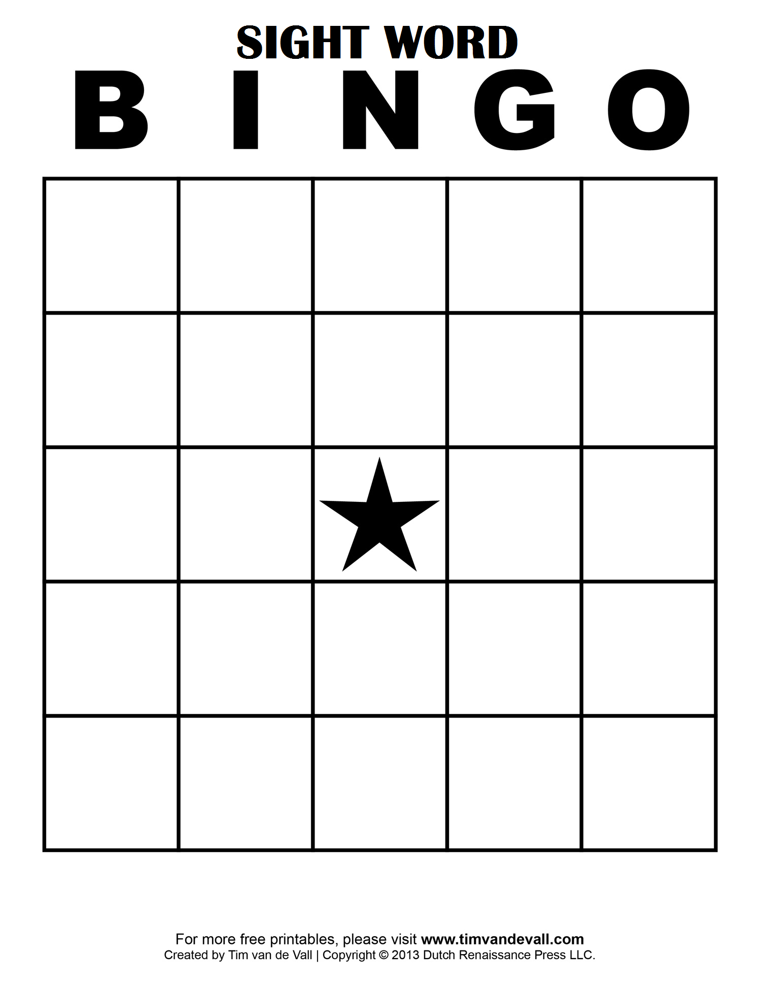 Sight Word Bingo … | Free Bingo Cards, Bingo Card Template