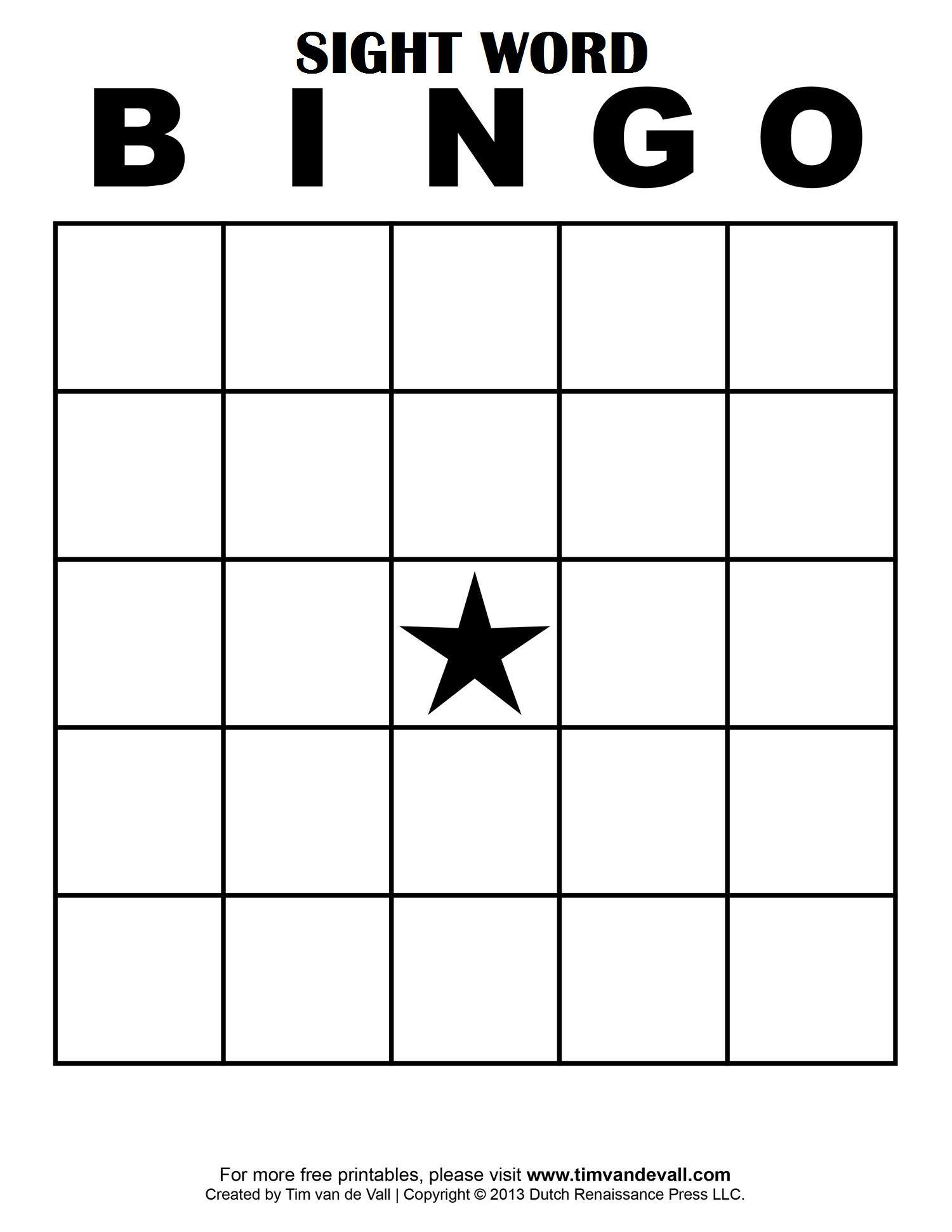 Sight Word Bingo More   Bingo Card Template, Free Bingo