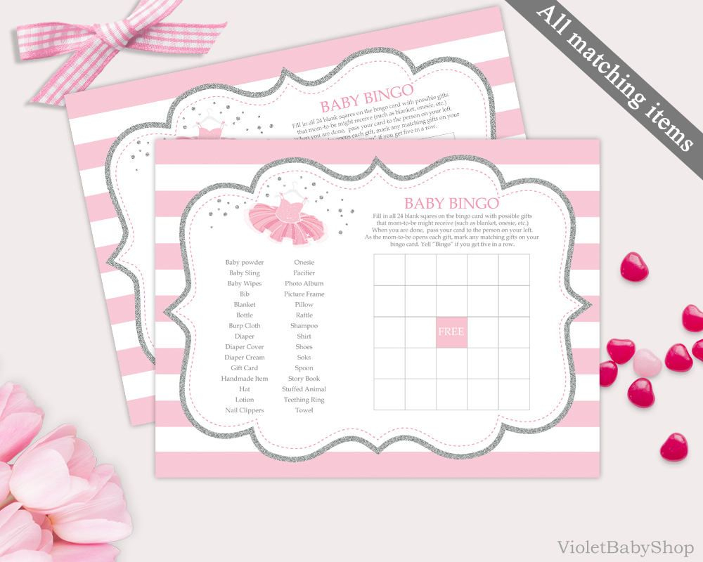 Silver And Pink Bingo Game Template. Printable Tutu Excited