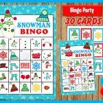 Snowman Winter Bingo Printable Game   30 Different Cards   Snowman Memory  Game   Party Game Printable   Instant Download