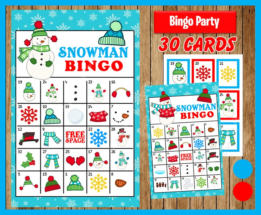 Snowman Winter Bingo Printable Game - 30 Different Cards - Snowman Memory  Game - Party Game Printable - Instant Download