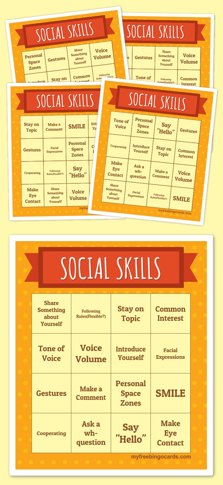 Social Skills Bingo   Free Printable Bingo Cards, Bingo Card