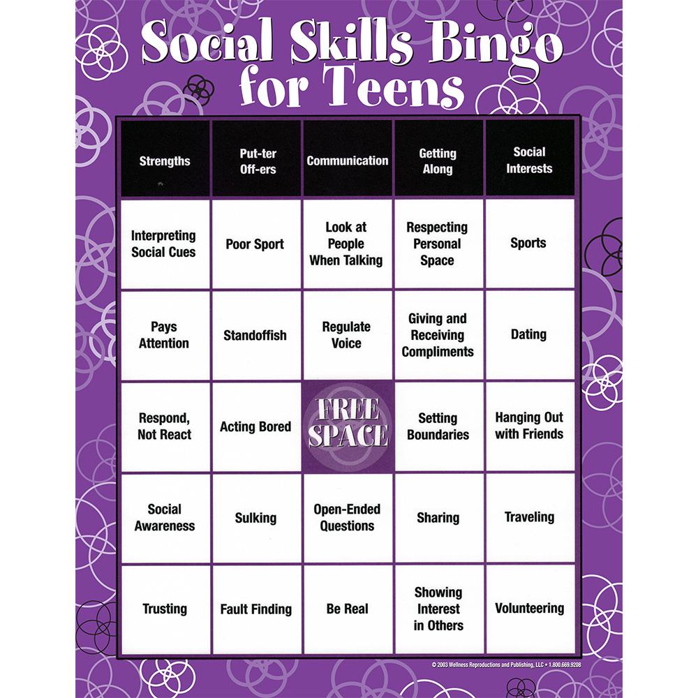 Social Skills Characteristics Communication Teens Bingo Game