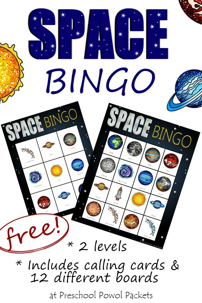 Space Bingo {Free} - Ruimte Thema, Ruimte Feestje En