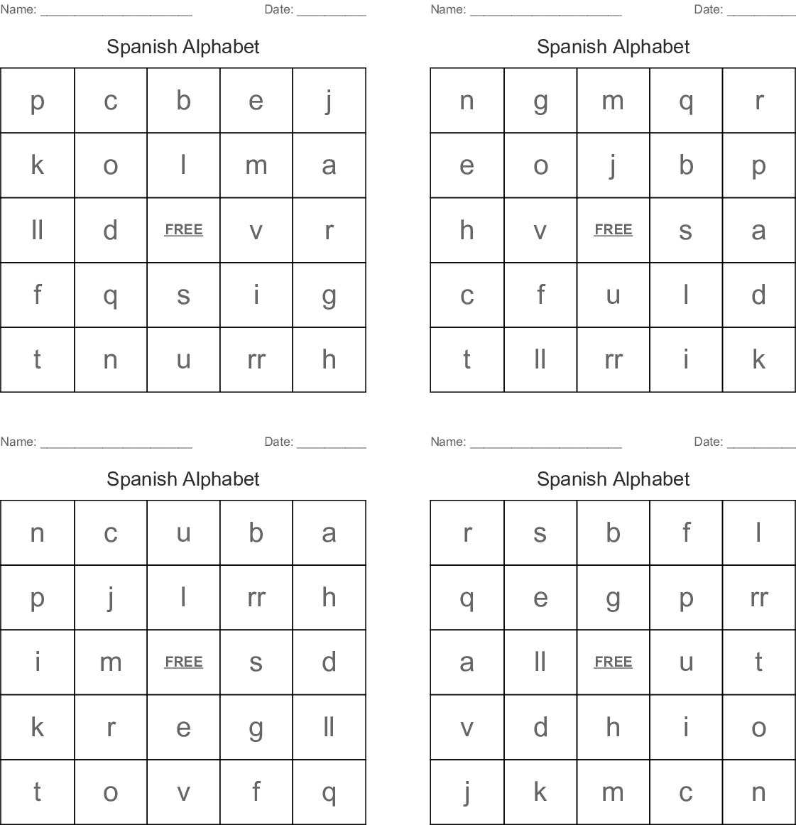 Spanish Alphabet Bingo Cards - Wordmint