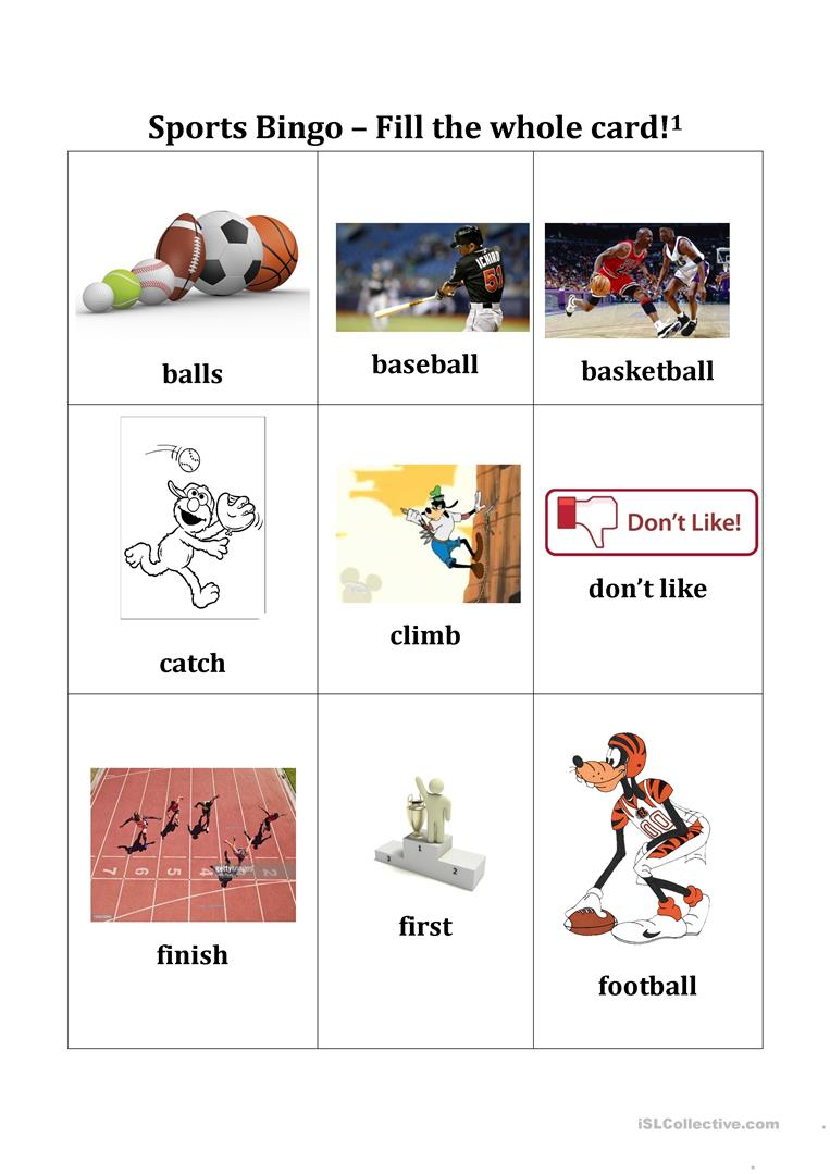 Sports Bingo Cards - English Esl Worksheets For Distance