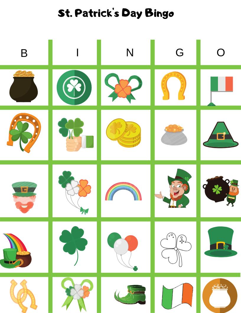 St. Patrick's Day Bingo Free Printable Game