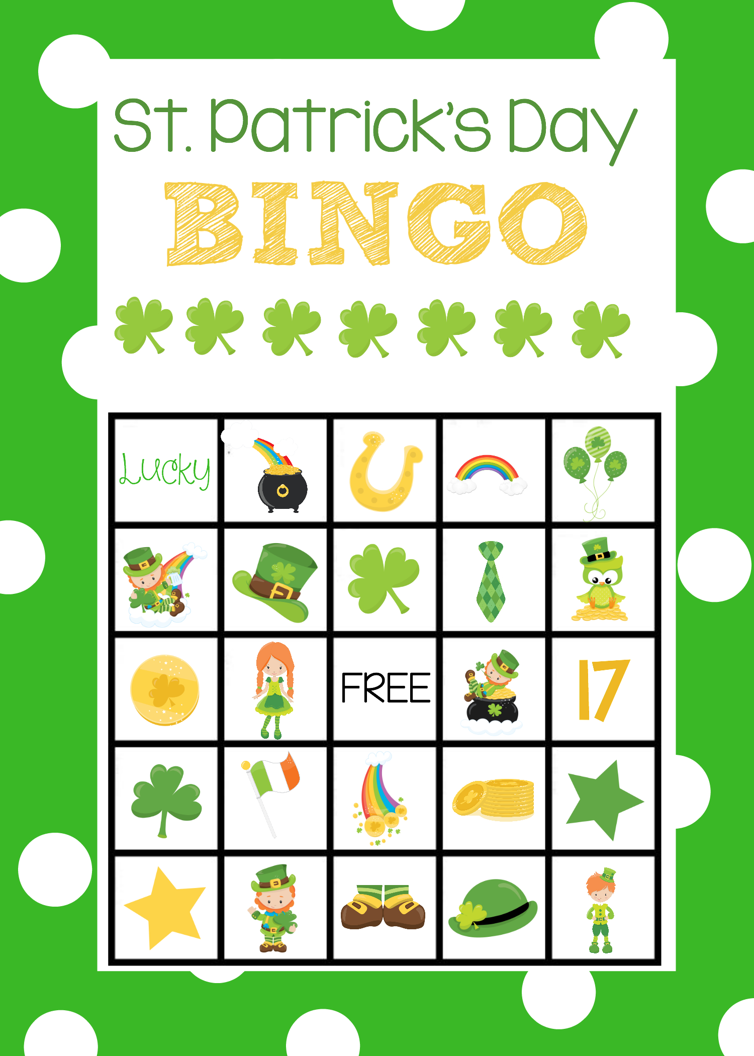 St. Patrick's Day Bingo Game | St Patrick Day Activities, St