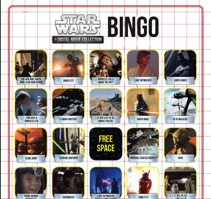 Star Wars Bingo Printable Card