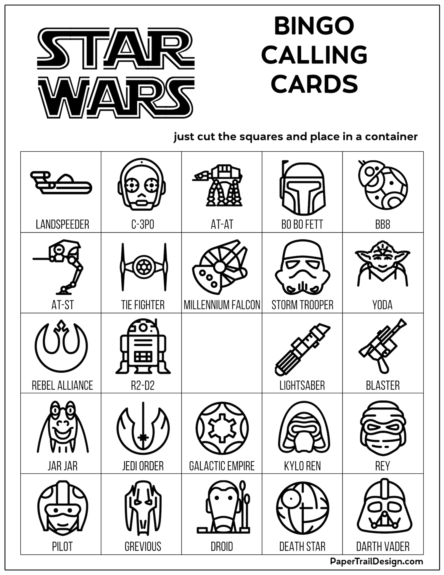 Star Wars Bingo {Free Printable Party Game} - Paper Trail Design