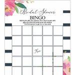 Striped Floral Printable Bridal Shower Bingo | Bridal Shower