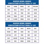 Super Bowl Bingo   Free Printable   Integrated Learning