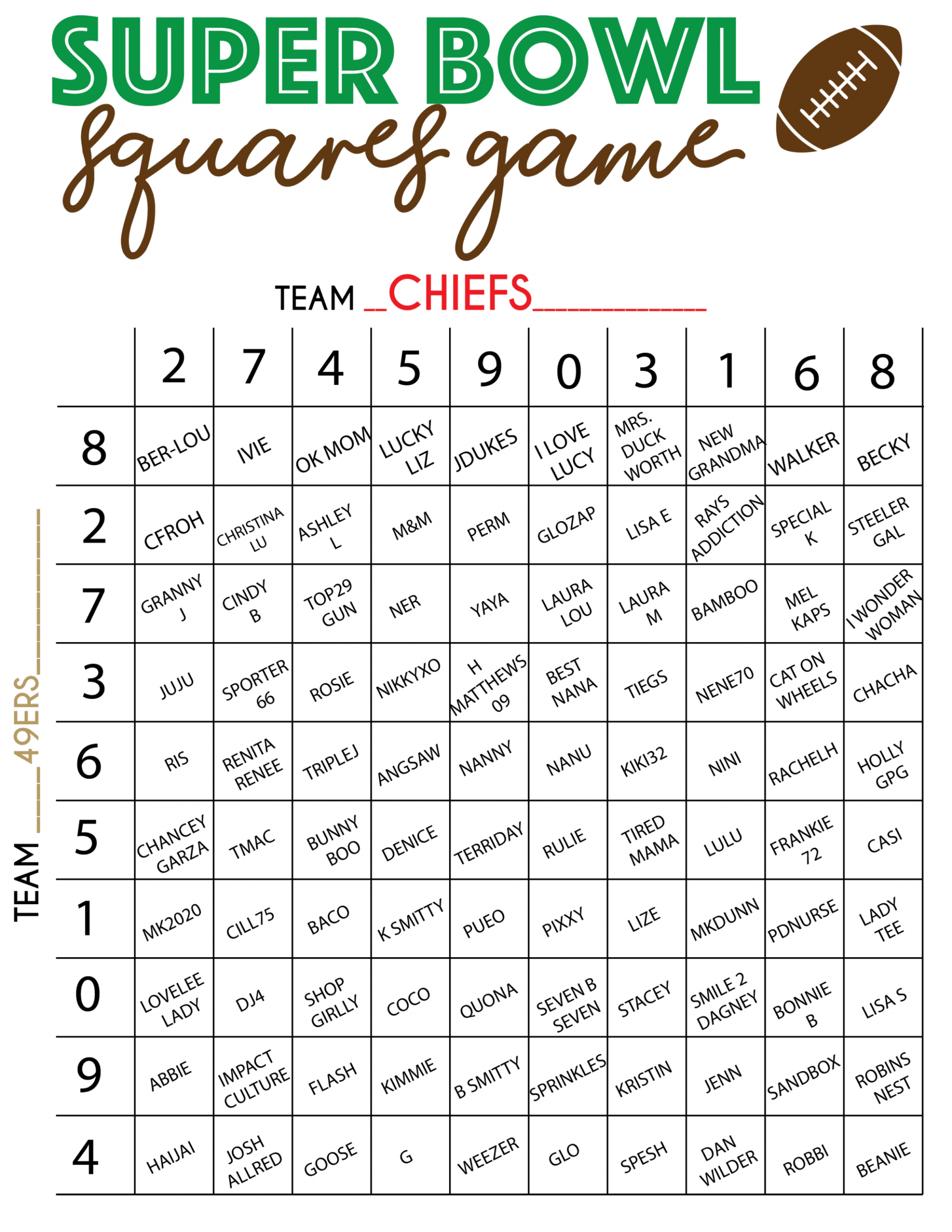 Super Bowl Liv Squares Pdf - Daily Superbowl News 2020