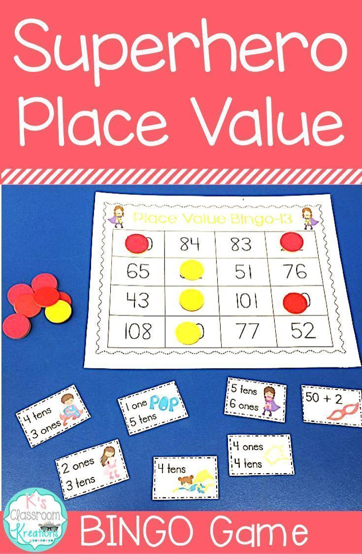 Superhero Place Value Bingo Game | Place Values, Tens, Ones