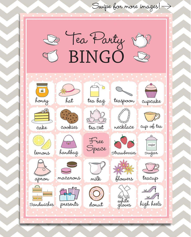 Tea Party Bingo In Pink, 20 Unique Game Cards, Printable
