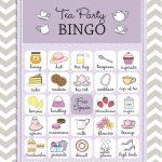 Tea Party Bingo In Purple, 20 Unique Game Cards, Printable