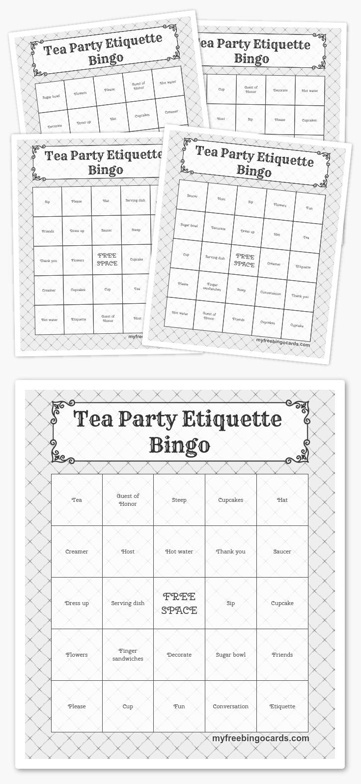 Tea Party Etiquette Bingo   Free Printable Bingo Cards