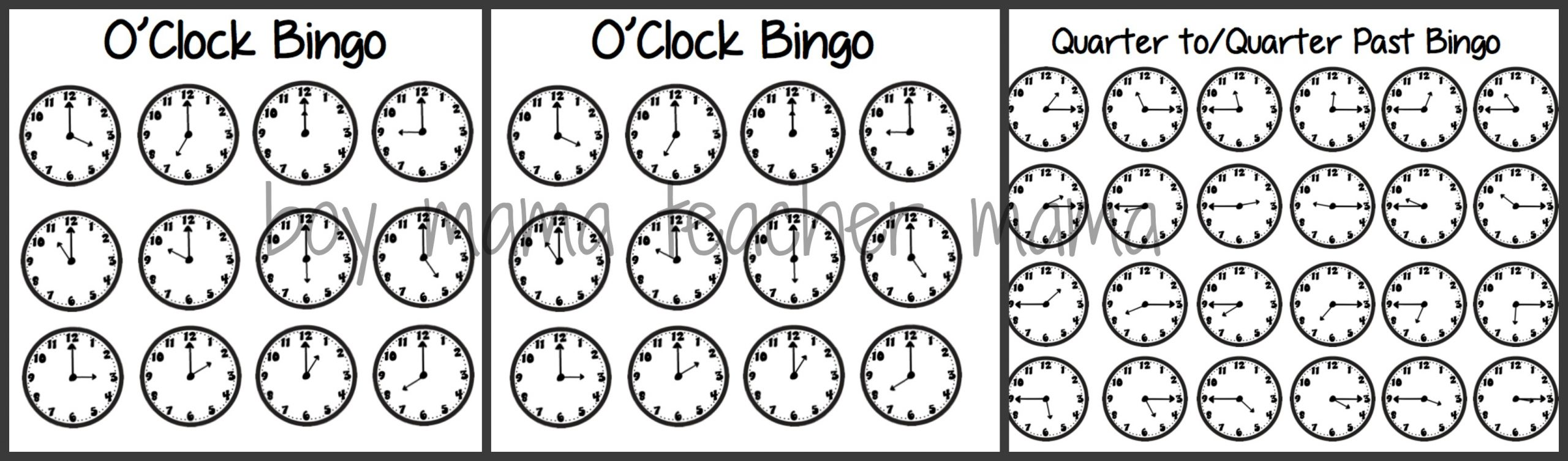 Teacher Mama: Time Bingo Games - Boy Mama Teacher Mama