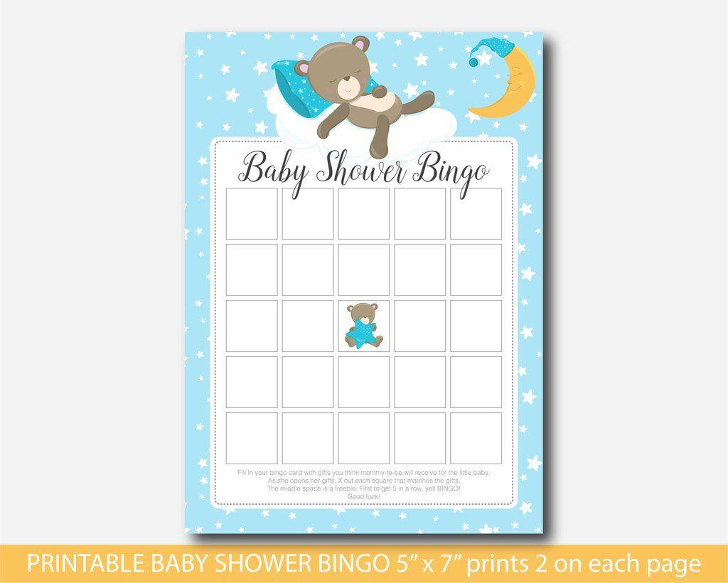 Teddy Bear Baby Shower Bingo Cards, Bear Baby Bingo, Teddy