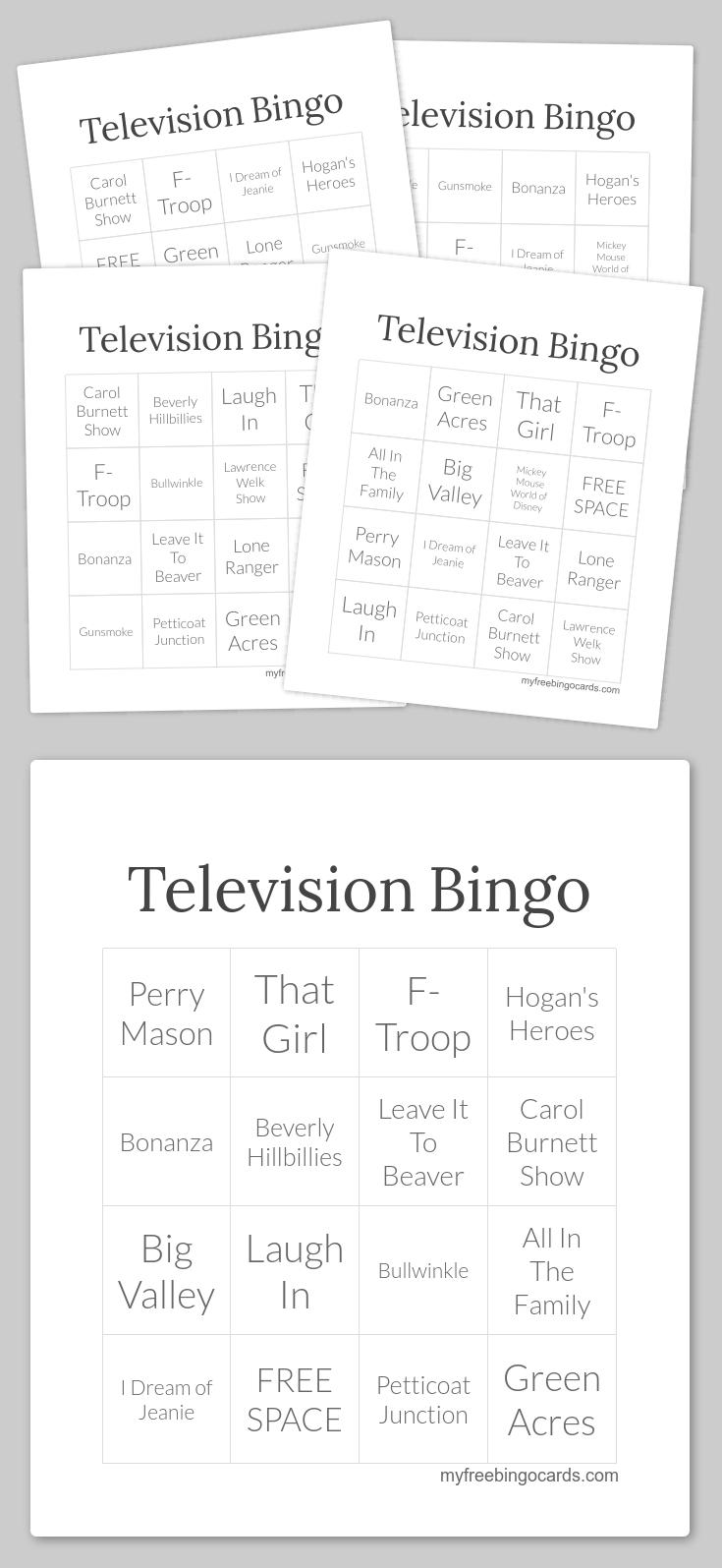 Television Bingo | Bingo Cards, Free Printable Bingo Cards