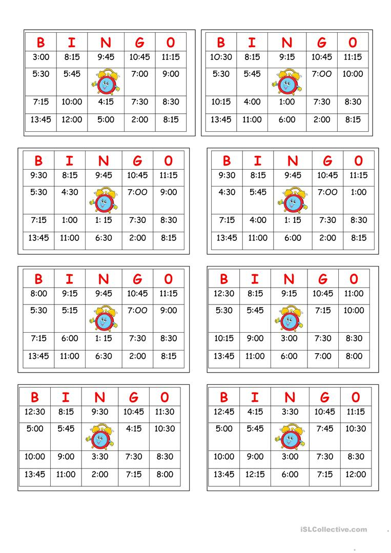 Telling Time Bingo - English Esl Worksheets For Distance