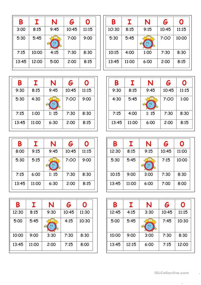 Telling Time Bingo - English Esl Worksheets For Distance