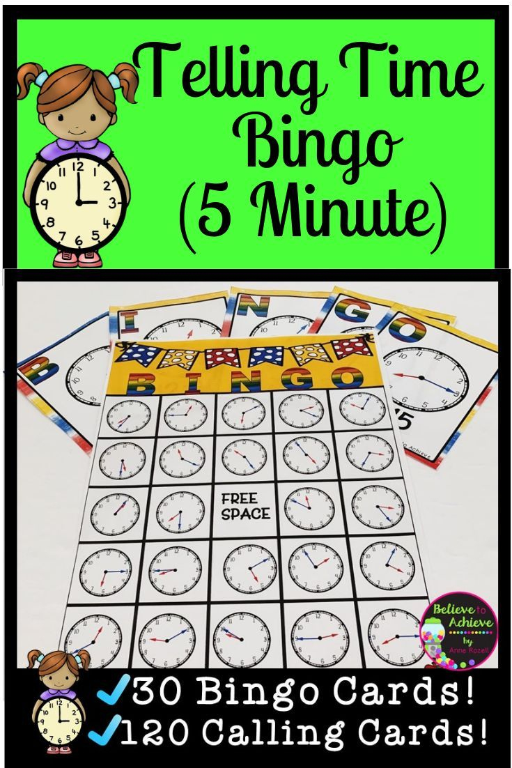 Telling Time Bingo - Nearest 5 Minutes   3Rd Grade Math