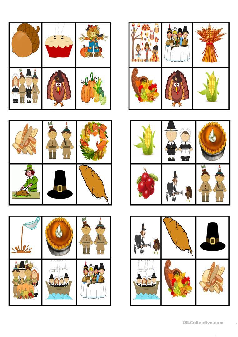 Thanksgiving - Bingo Cards - English Esl Worksheets For