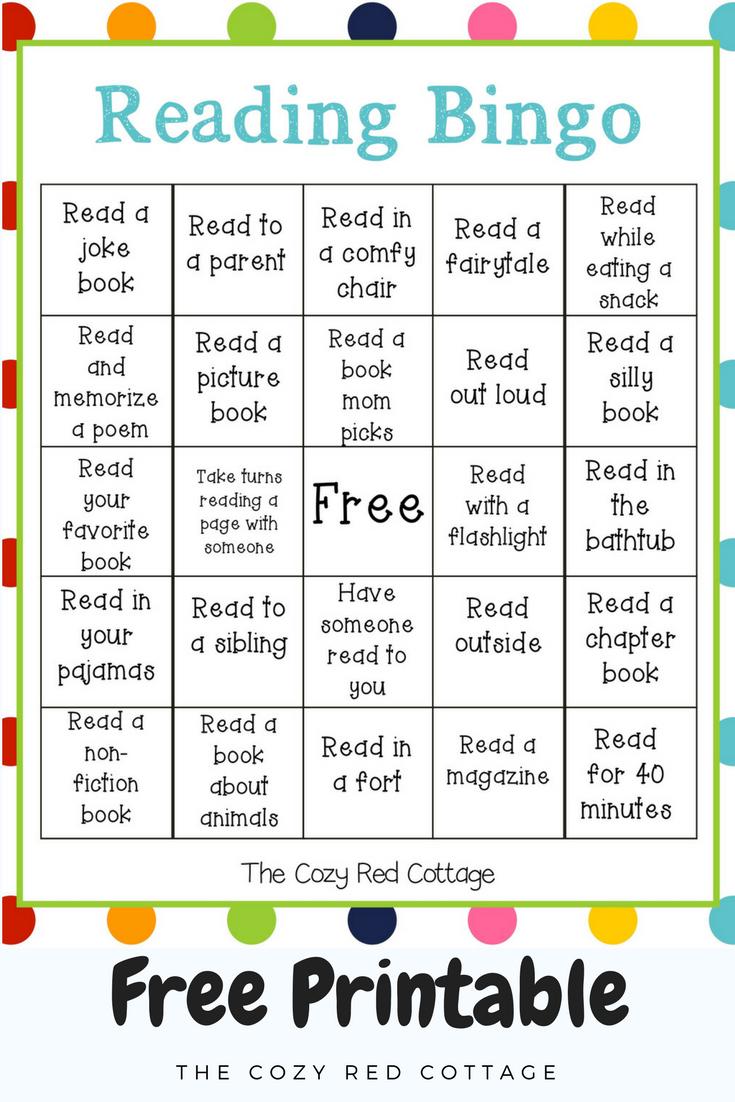 The Cozy Red Cottage: Reading Bingo (Free Printable)