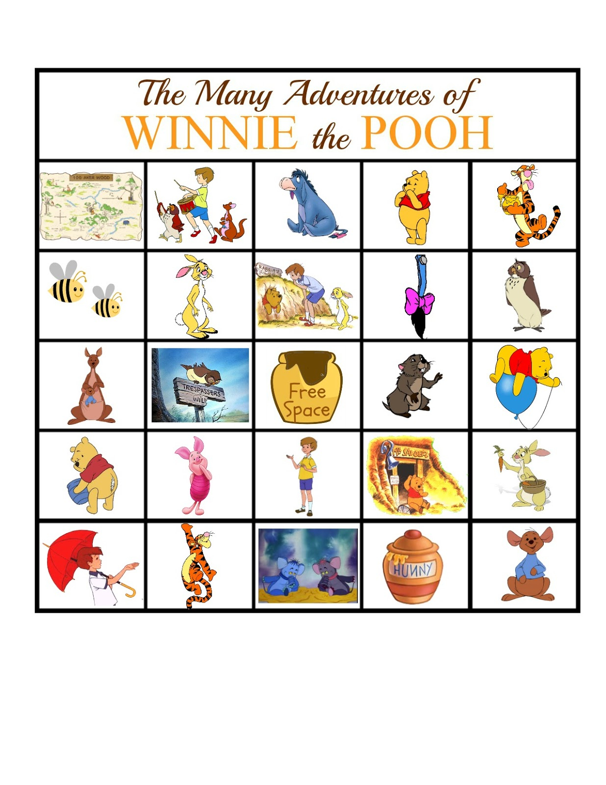 The Many Adventures Of Winnie The Pooh Bingo Game | Sweet